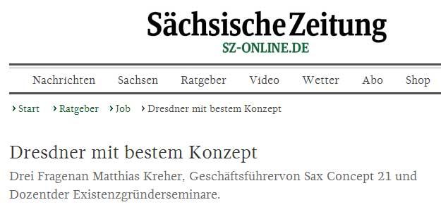Pressebericht in der Sächsischen Zeitung: